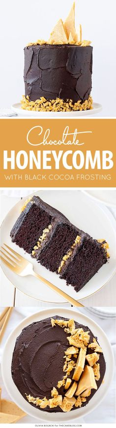 Dark Chocolate Honeycomb Cake – a rich chocolate layer cake recipe with ultra dark, fudgy frosting and homemade honeycomb | by Olivia Bogacki for TheCakeBlog.com