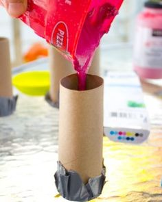 Homemade Chalk - use recipe from other pin and use tubes, boxes etc sealed w/ duct tape on one end and peel off when hardened
