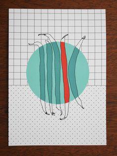 Postkarte - polypodium - graphic design - illustration - buschbohnen - bush bean
