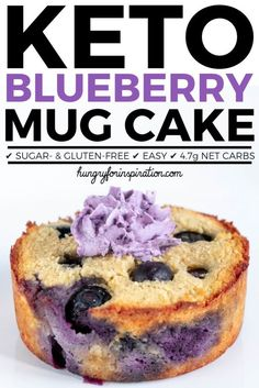 Looking for an easy & quick keto snack? This keto blueberry mug cake is perfect for you! Keto mug cake with only net carbs per serving! Low Carb Vegetarian Recipes, Ketogenic Recipes, Low Carb Recipes, Ketogenic Diet, Diet Recipes, Low Carb Mug Cakes, Keto Mug Cake, Keto Mug Bread, Mug Recipes