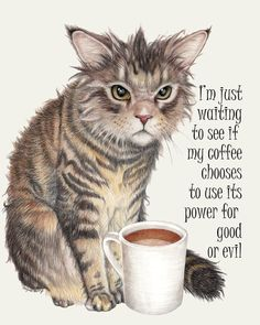 Coffee Cat Art Print by WendyBerry - X-Small I Love Coffee, Coffee Art, My Coffee, Coffee Pics, Coffee Break, I Love Cats, Cute Cats, Funny Cats, Banksy