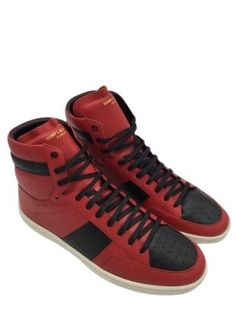 2603764598bb MENS YSL SAINT LAURENT Court Classic Sl 10H High Top Sneaker Size 10 Red  Black