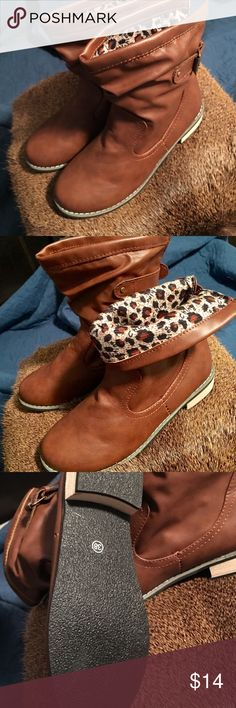 BRAND NEW CARMEL COLOR ANKLE BOOTS W/STACKED HEEL These Carmel colored boots are cute. They are lined so they are warmer than your normal ankle booties. Not real leather - priced to sell.  Fit more like a size 7 than an 8, as they are marked in European sizing. Shoes Ankle Boots & Booties
