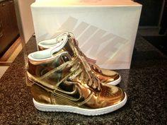 My new loves ❤❤❤❤❤  Nike Liquid Gold Dunk Sky Hi's
