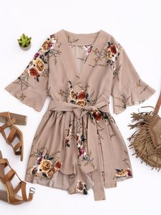 SHARE & Get it FREE | Floral Plunging Neck Surplice Romper - KhakiFor Fashion Lovers only:80,000+ Items • New Arrivals Daily Join Zaful: Get YOUR $50 NOW!