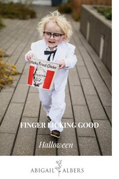We hope you have a Finger Licking Good Halloween from our family to yours! When trying to decide what our boy should be for halloween it was a tough call. He is in to so many things! Would he be Uncle Sam? Mickey Mouse? We finally decided since chicken is one of the only foods he asks for that he would make a perfect Colonel Sanders. #kidshalloweencostumeideas #halloweencostume #whattobeforhaloween #halloweenideasforlittleboys #halloweencostumeforkids