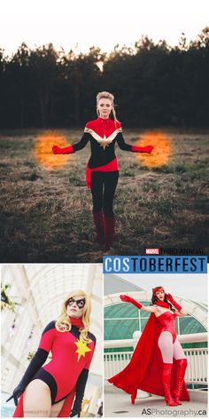 Costoberfest 2013 - Day 04  Ladies in red! Introducing Kit as Captain Marvel, Lady Shepard as Moonstone, and GillyKins as Scarlet Witch.  Photos by Ann Tobler of Miss Jee Photography, Mambastic Photos and AS Photography.  Marvel's use of all photos are governed by the Marvel.com Terms of Use and Privacy Policy.