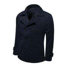 Trench Coat Men Solid Slim Fit Cotton Men Jacket Casual brand-clothing Asian size