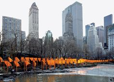"""Christo and Jeanne-Claude, """"The Gates,"""" 1979-2005. 7,503 Gates of Saffron-Colored Polypropylene Fabric and Aluminum. Central Park, New York City, February 12-27, 2005."""