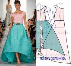 Analise de forma detalhada a transformação do molde base no molde do vestido de festa. É fundamental para que conclua o molde do vestido de festa.