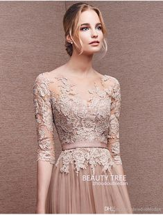 a-line Princess Zuhair Murad Scoop Neck Lace Formal Evening Dresses 3/4 Sleeves See-through Appliques Pink Prom Gowns Custom