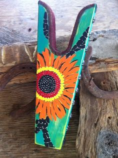 Hand painted big beautiful flower Boot Jack. by WesternSunset, $50.00