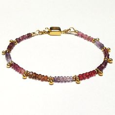 Sapphire Bracelet  Gold Vermeil  Multicolor  by jewelrybycarmal, $132.00