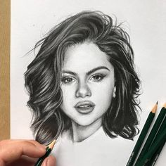 portrait black and white selena gomez drawing, woman drawing, white background, short wavy hair Pencil Art Drawings, Realistic Drawings, Art Drawings Sketches, Horse Drawings, Pencil Sketches Of Girls, Easy Drawings, Female Face Drawing, Woman Drawing, Drawing Drawing