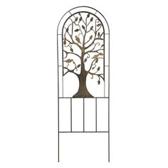 Our laser-cut Tree of Life Metal Garden Trellis will bring out the natural beauty within your yard or garden. No matter what you believe, the tree of life is a symbol known to most of humankind, representing the interconnection of all living things.<br/>Our trellis creates gorgeous support for a variety of plants and flowers. The Tree of Life design is burnished bronze; the frame is black. Sturdy tubular steel with laser-cut design.