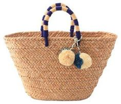 Our St Tropez tote is made of natural seagrass and features matching raffia poms poms. Roomy enough for your beach towel, sunglasses and more. Best Beach Bag, Beach Bags, Perfect Engagement Gifts, Straw Tote, Blue Accents, Bride Gifts, Back Home, Beach Towel, Navy And White