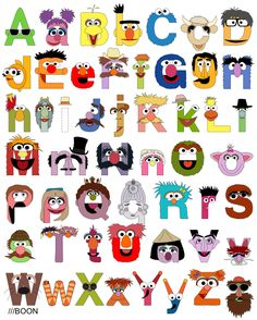 Jim Henson tribute/Sesame Street Alphabet with upper and lower case letters. Click through to see a list of all of the characters! (by Mike BaBoon Design) Sesame Street Party, Sesame Street Birthday, Sesame Street Room, Sesame Street Letters, Jim Henson, Anniversaire Elmo, Alphabet Print, Alphabet Wall, Alphabet Design