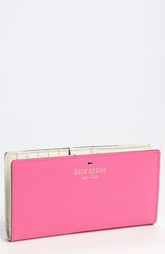 Some asshole stole my first Kate Spade wallet.  Can some one buy me this one? Please? But in HOT PINK, not pastel pink