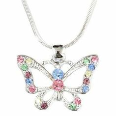 Multicolor Crystal Butterfly Charm Pendant Necklace Fashion Jewelry Lamont. $9.95. Beautiful Style. Brand New. Comes in a Gift Box. Wonderful Gift