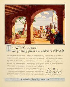 1934 Ad Kimberly Clark Kleerfect Paper Rolf Klep Aztec - ORIGINAL ADVERTISING
