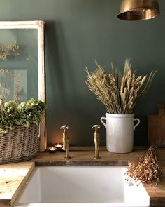 Utility rooms don't have to be boring and functional they can also be high on style as seen here in @simplyscandikatie 's (on Instagram) home. Painted in @farrowandballl Green Smoke we love the rustic charm of this design which also includes our Mayan brass taps in aged brass #perrinandrowe #utilityroomdesignideas #utilityroom #laundryroom #homedecor #utilitysink #brasstaps #rusticdesignideas #rusticdecor #brassdecor #realhomeinspiration Rustic Design, Rustic Decor, Rustic Charm, Utility Room Inspiration, Home Board, Amazing Spaces, Farmhouse Style Kitchen, Little Houses, Interior Design Kitchen