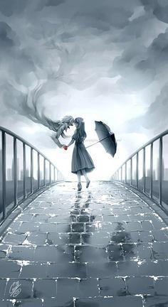 Girl in rain drawing- Digital art- Anime Art And Illustration, Art Illustrations, Manga Art, Manga Anime, Anime Eyes, Anime Kunst, Wow Art, Animes Wallpapers, Studio Ghibli
