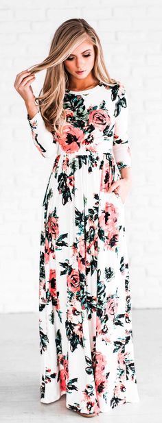 #spring #outfits  White Flower Print Maxi Dress