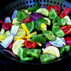 We throw in a variety of raw veggies, add EVOO and a squirt of lemon- Heavenly grilled veggies! (Leftovers are used for the next morning's veggie omlets) Fruit Salad, Cobb Salad, Grill Basket, I Grill, Grilling Tips, Grilled Veggies, Healthy Recipes, Healthy Food, Heavenly