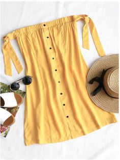 Yellow Tied Button Up Mini Dress - This effortless and casual mini dress features a button-up front, a full exposed shoulder creating a bow tied straps at sleeves in a boobtube style. Summer Outfits, Casual Outfits, Cute Outfits, Fashion Outfits, Summer Dresses, Cute Dresses, Simple Dresses, Mini Dresses, Travel Clothes Women