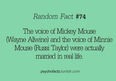 Adorable! The voice of Mickey Mouse was married to the voice of Minnie Mouse.
