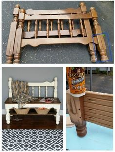 How to make a small shelf coat rack or towel rack out of bed parts and scrap lumber and molding. Pallet Garden Furniture, Repurposed Furniture, Furniture Projects, Diy Furniture, Outdoor Furniture, Old Bed Frames, Diy Bed Frame, Sofa Makeover, Furniture Makeover