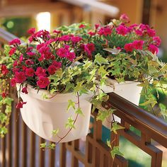 """Improvements Double Sided Adjustable Railing Planter-16"""" - White ($30) ❤ liked on Polyvore featuring home, outdoors, outdoor decor, balcony planter, colorful planter, deck planter, flower box planter, garden planter, patio planter and plastic planter"""