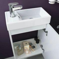 Portland Gloss White Slimline Basin Unit - Wall Hung £69.99 @ soak.com