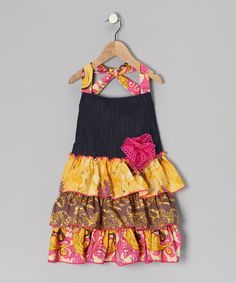 Take a look at this Denim Floral Fiona Apron - Girls by Jillie Willie on #zulily today!