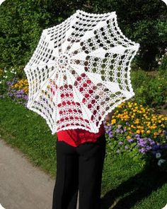 knit umbrella for hair yarn Diy Crochet And Knitting, Crochet Fabric, Thread Crochet, Crochet Gifts, Lace Knitting, Crochet Doilies, Crochet Clothes, Crochet Lace, Crochet Stitches