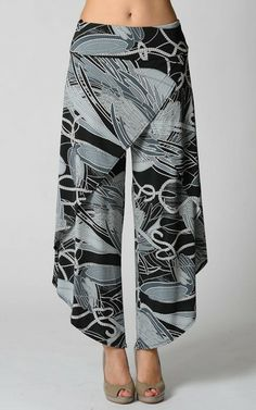 Great wrap pants--hate the printHave I really contemplated the value of wrap pants?Great wrap pants, would be cute for Skylar. Wrap Pants, Skirt Pants, Harem Pants, Sewing Pants, Sewing Clothes, Diy Clothing, Clothing Patterns, Fashion Pants, Diy Fashion