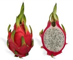A red Pitaya (Hylocereus undatus) fruit, also known as Dragon-fruit, together with a cross section.