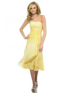 Concise Pick-Ups Strapless Tea-length Bridesmaid Dresses