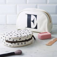 a big make up bag is great for carrying everything to the bathroom because the light is better in there