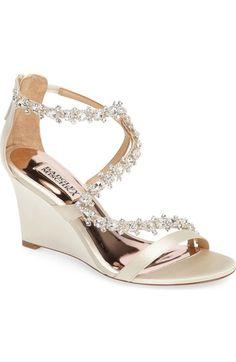 823fbe85d9bb5 BADGLEY MISCHKA Bennet Embellished Wedge Sandal.  badgleymischka  shoes   sandals Bridal Shoes Wedges