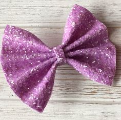 Lilac Chunky Glitter Bow