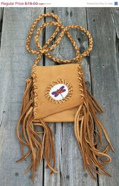 ON SALE Beaded festival bag Leather cell phone bag by thunderrose, $66.30