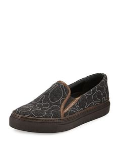 X2S2Q Brunello Cucinelli Monili Beaded Flannel Skate Shoe, Volcano