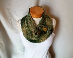 Camo button scarf Fall wool neckwarmer cowl  by 910woolgathering