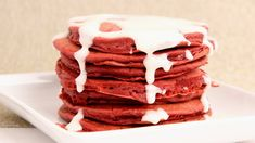 Red Velvet Pancakes Recipe - Laura in the Kitchen - Internet Cooking Show Starring Laura Vitale Cheesecake Pancakes, Protein Pancakes, The Kitchen Episodes, Red Velvet Pancakes, Red Velvet Cheesecake, Cream Cheese Glaze, Banoffee, Thing 1, Glaze Recipe