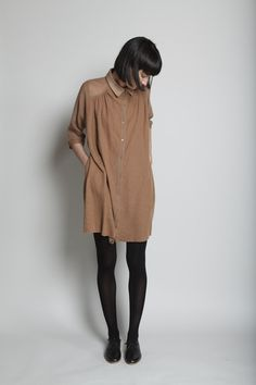 #beauty #style #fashion #woman #clothes #outfit #wearable #casual #look #fall #autumn #brown #shirt #dress #black #tights