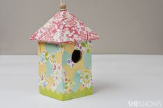 This Mod Podge Bird House is a perfect craft for spring!