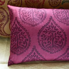 Lumbar pillow - tree motif handstamped in purple on a delicious berry colored linen