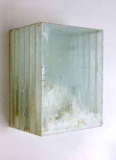"Didier Corallo / ""#2 (Landscape after Casper David Frederich)"", oil paint, glass, wood, 17.5 h x 13.5 w x 10 d"