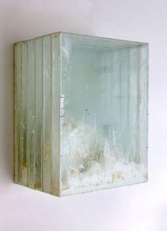Didier Corallo // No. 2 (Landscape after Casper David Frederich), oil paint, glass, wood, 17.5 h x 13.5 w x 10 d